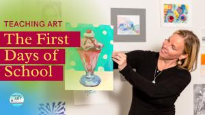 Lauren Bohrman holding an ice cream painting high school art project. Lauren creates art lesson plans for high school drawing and painting classes.