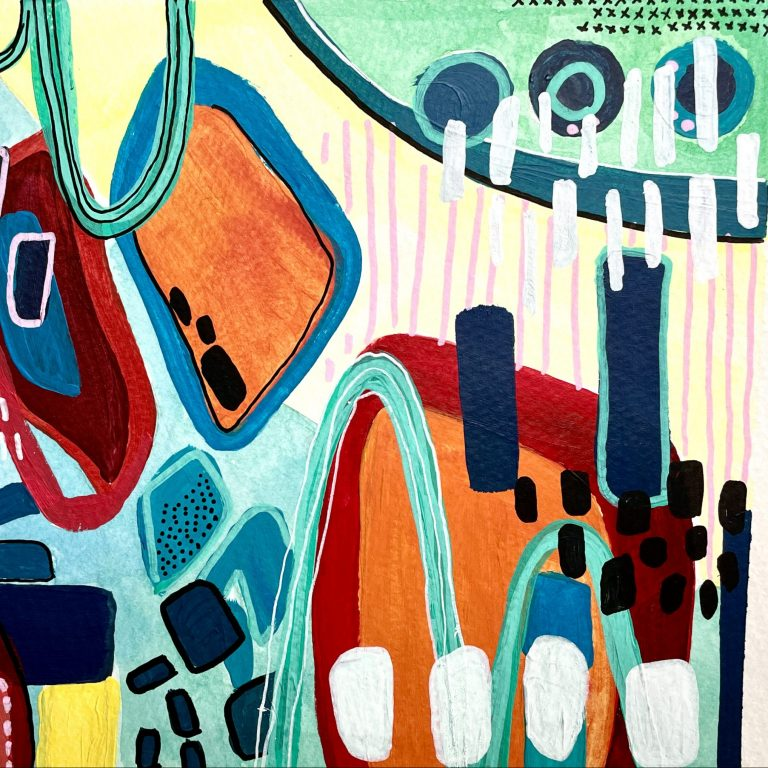 Abstract high school art project that demonstrates the elements and principals of art. Find art ideas for high school acrylic painting projects.