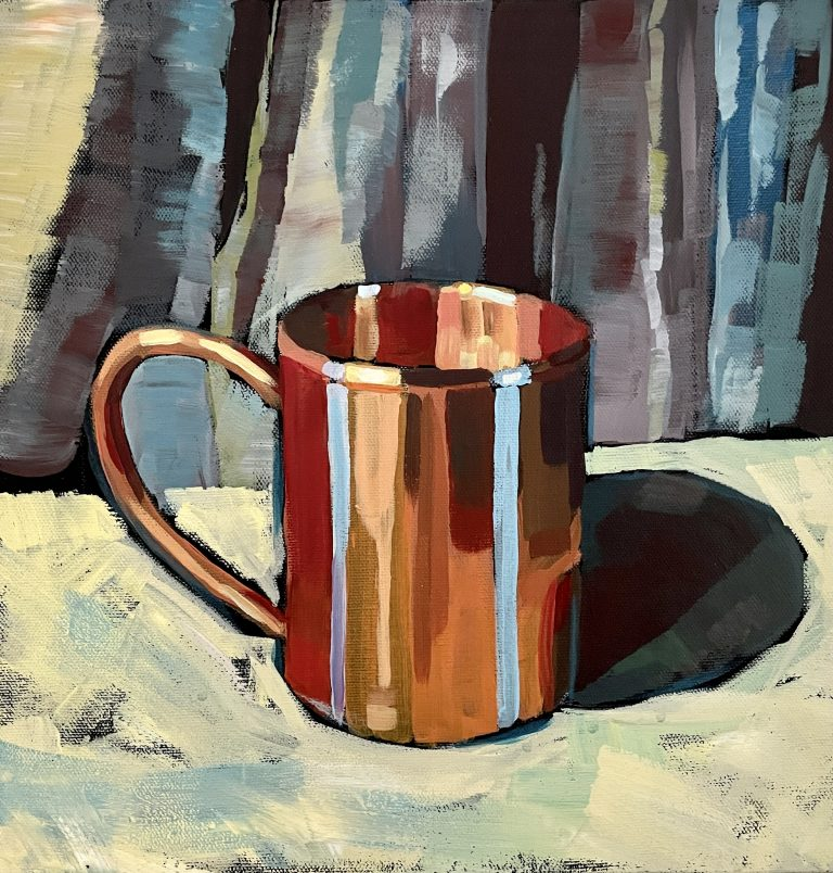 High school art project copper mug acrylic painting lesson plan. This project explores color theory and uses a complementary color scheme. Students learn to use the elements and principals of art to create a balanced design.