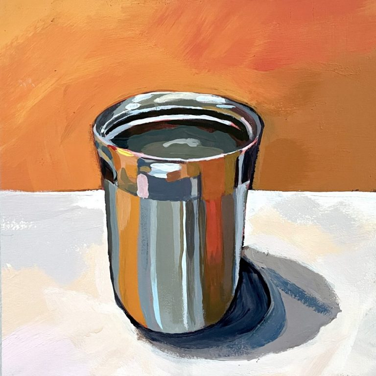 High school art project reflective surface acrylic painting lesson plan. This project explores color theory and uses a complementary color scheme. Students learn to use the elements and principals of art and explore different acrylic painting techniques.