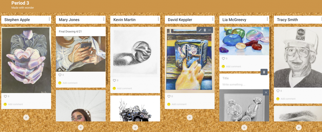 How to grade artwork using Padlet in the High School Art Class